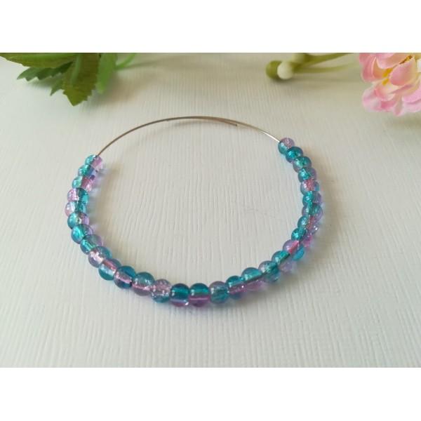 Perles en verre craquelé 4 mm bleu rose x 50 - Photo n°1