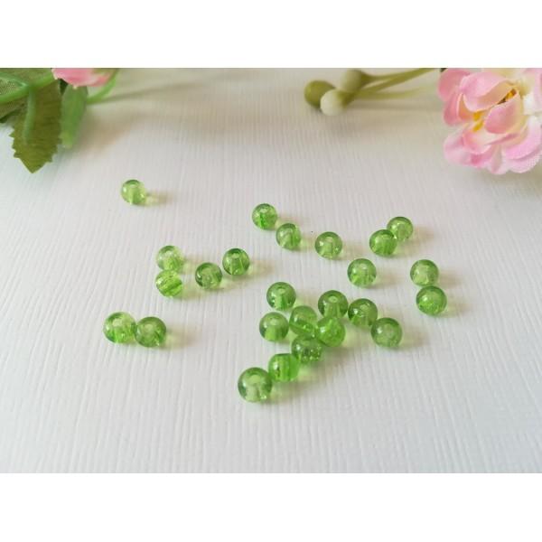 Perles en verre craquelé 4 mm vert clair x 50 - Photo n°2