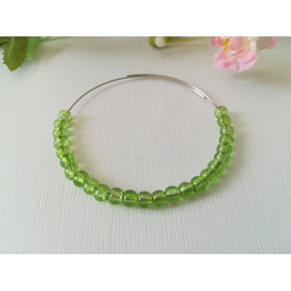 Perles en verre craquelé 4 mm vert clair x 50 - Photo n°1
