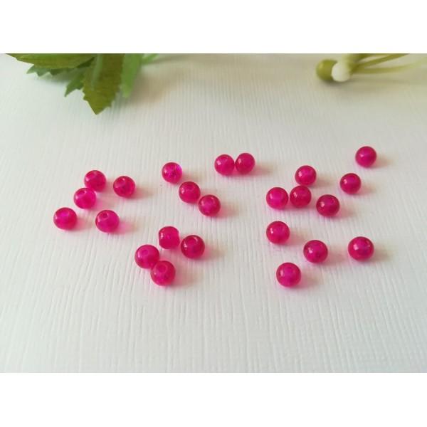 Perles en verre craquelé 4 mm fuchsia x 50 - Photo n°2