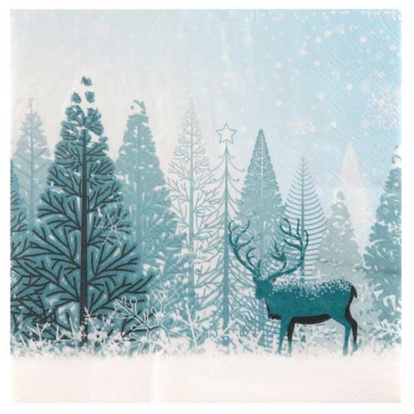 20 Serviettes en papier Noël Forêt d'hiver - Photo n°1