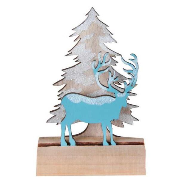 Centre de table Noël sapin & cerf bleu glacial sur bûche 11 cm - Photo n°1
