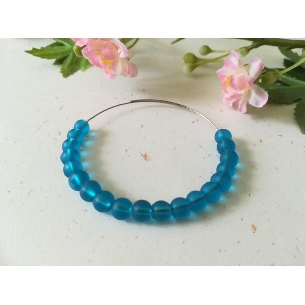 Perles en verre givré 6 mm bleu x 25 - Photo n°1