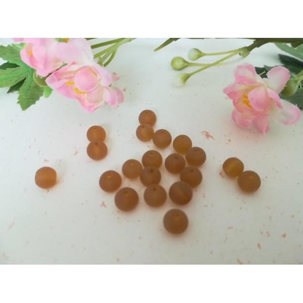 Perles en verre givré 6 mm ambre x 25 - Photo n°2