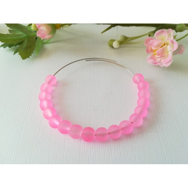 Perles en verre givré 6 mm rose x 25 - Photo n°1
