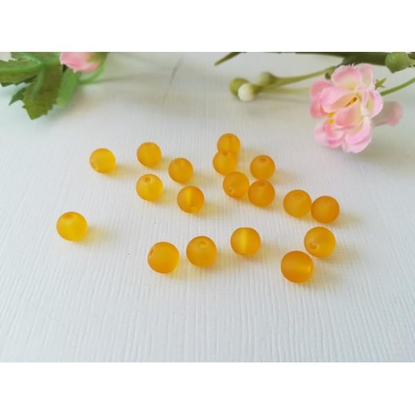 Perles en verre givré 6 mm moutarde x 25 - Photo n°2