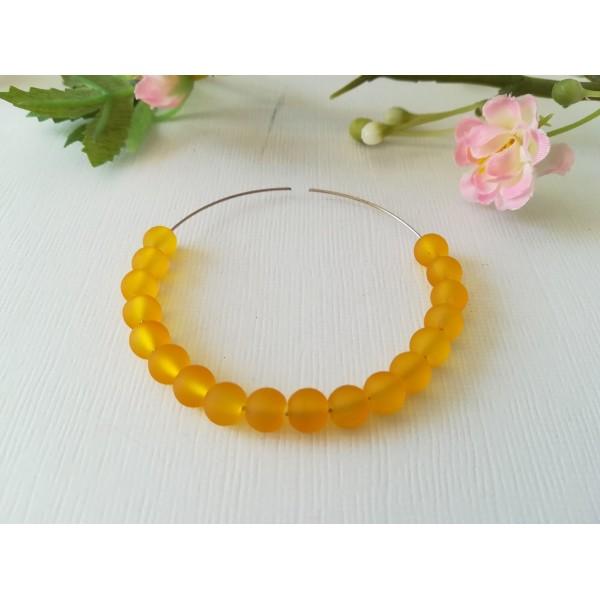 Perles en verre givré 6 mm moutarde x 25 - Photo n°1