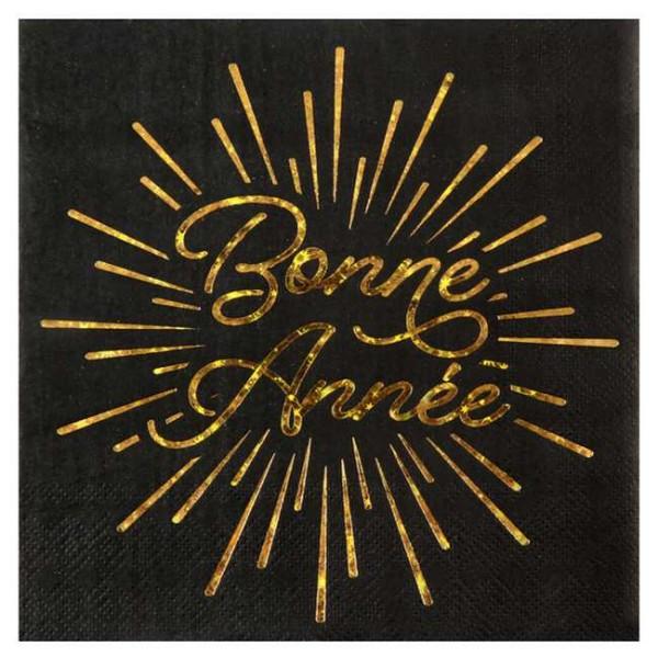 20 Serviettes en papier Bonne Année noir et or - Photo n°1