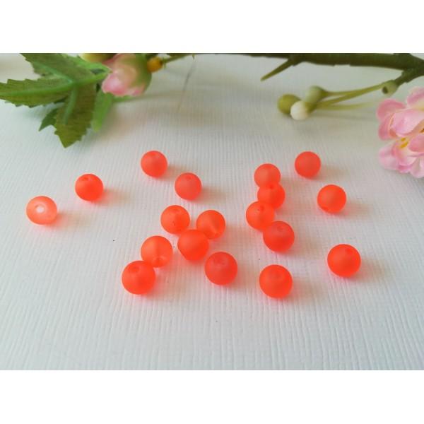 Perles en verre givré 6 mm orange fluo x 25 - Photo n°2