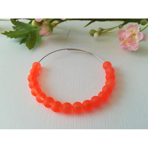 Perles en verre givré 6 mm orange fluo x 25 - Photo n°1