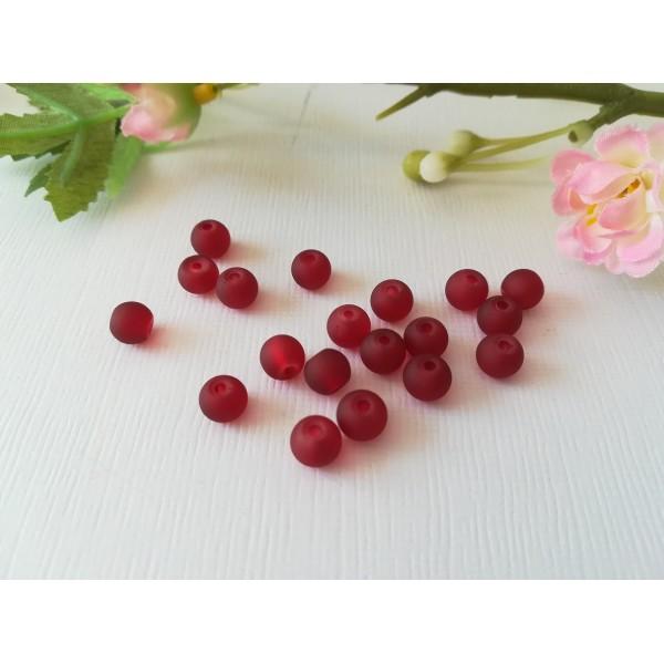 Perles en verre givré 6 mm bordeaux x 25 - Photo n°2