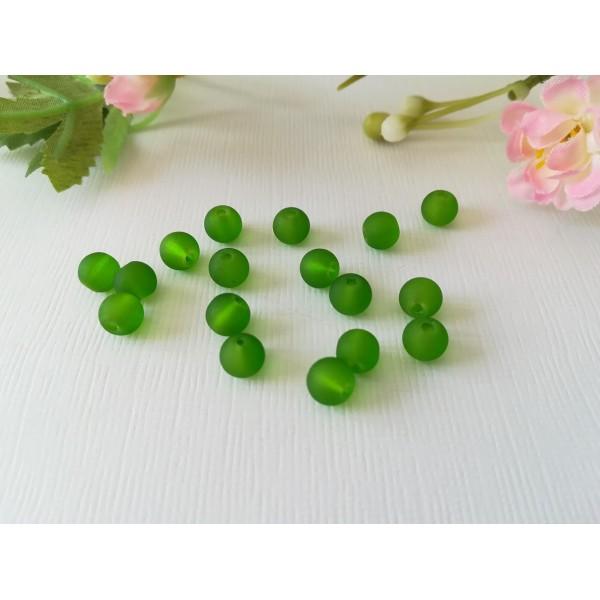 Perles en verre givré 6 mm vertes x 25 - Photo n°2