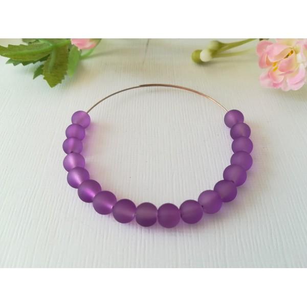 Perles en verre givré 6 mm violet x 25 - Photo n°1