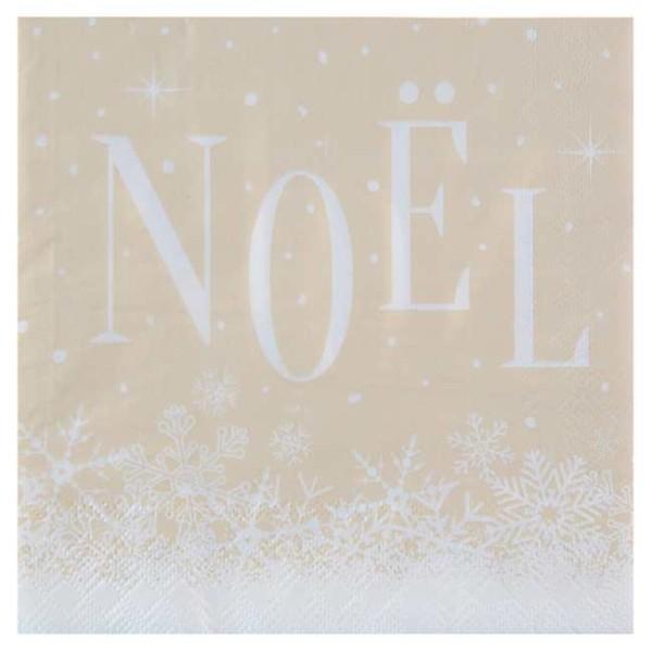 20 Serviettes en papier Noël enneigé naturel et blanc - Photo n°1