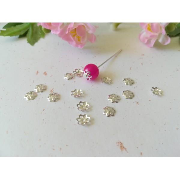 Coupelles fleur 6 mm argenté x 50 - Photo n°1
