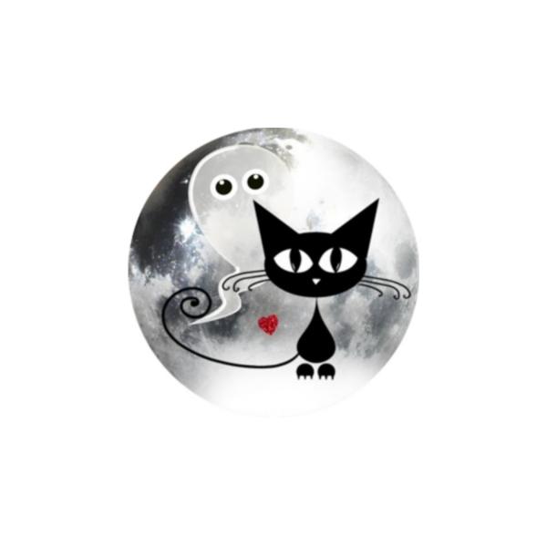 1 Cabochon 25 mm, Verre Rond, Halloween Chat Noir et Fantome 2 - Photo n°1