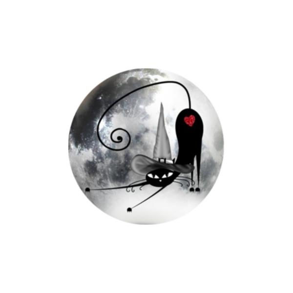 2 Cabochons 16 mm Verre Rond, Halloween Chat Noir au Chapeau pointu 3 - Photo n°1