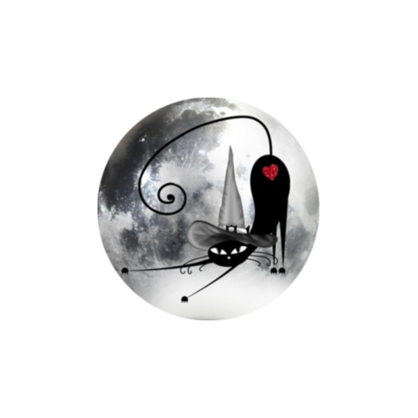 2 Cabochons 14 mm Verre Rond, Halloween Chat Noir au Chapeau pointu 3 - Photo n°1