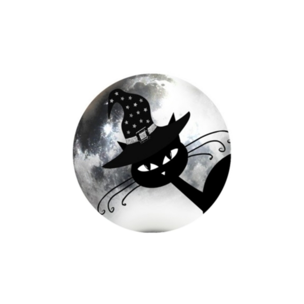 2 Cabochons 16 mm Verre Rond, Halloween Chat Noir au Chapeau 4 - Photo n°1