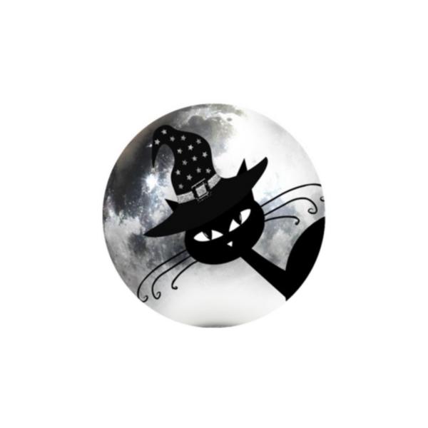 2 Cabochons 14 mm Verre Rond, Halloween Chat Noir au Chapeau 4 - Photo n°1