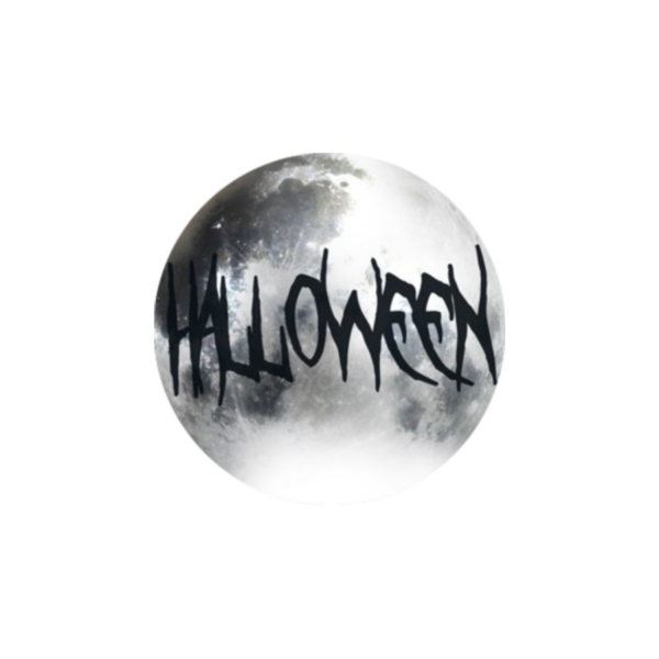 2 Cabochons 20 mm Verre Rond, Halloween Mot Noir et Gris 5 - Photo n°1