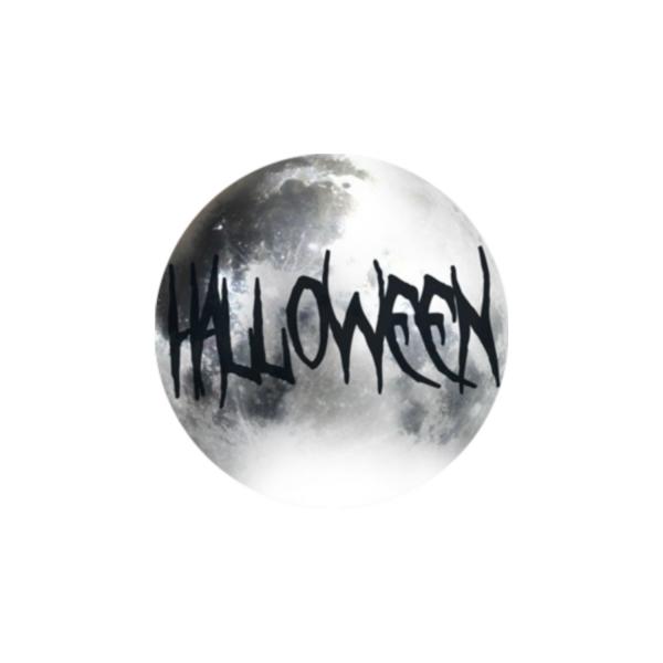 2 Cabochons 16 mm Verre Rond, Halloween Mot Noir et Gris 5 - Photo n°1