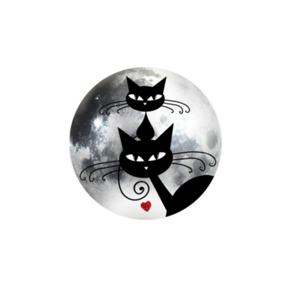 2 Cabochons 14 mm Verre Rond,  Halloween Chat Chaton Noir 6 - Photo n°1
