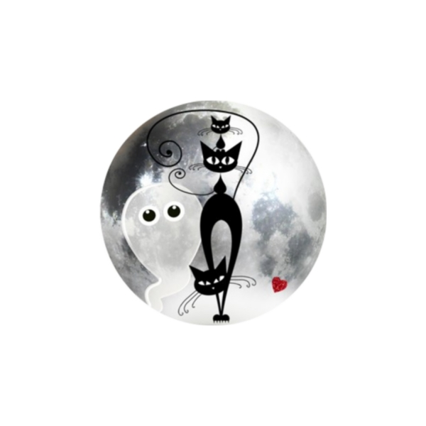 2 Cabochons 20 mm Verre Rond, Halloween Chat Chaton Noir et Fantôme 8 - Photo n°1