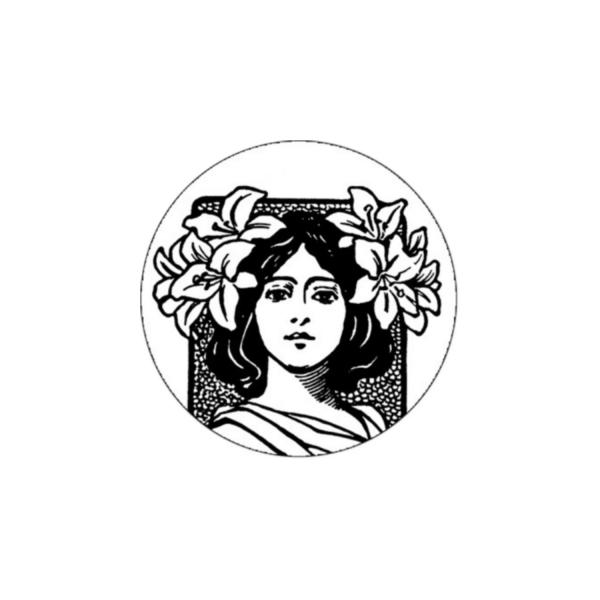 2 Cabochons 14 mm Verre Rond, Art Nouveau Noir et Blanc Femme 5 - Photo n°1