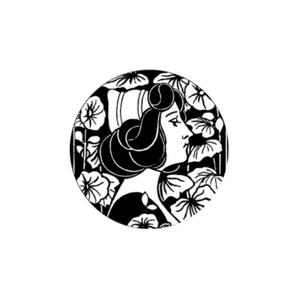 2 Cabochons 14 mm Verre Rond, Art Nouveau Noir et Blanc Femme profil 7 - Photo n°1
