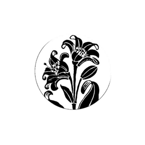 2 Cabochons 14 mm Verre Rond, Art Nouveau Noir et Blanc Fleur 8 - Photo n°1