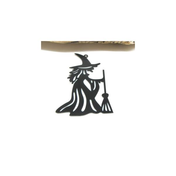 1 Pendentif Estampe Grande Sorcière noire, Halloween, 50*33 mm - Photo n°1