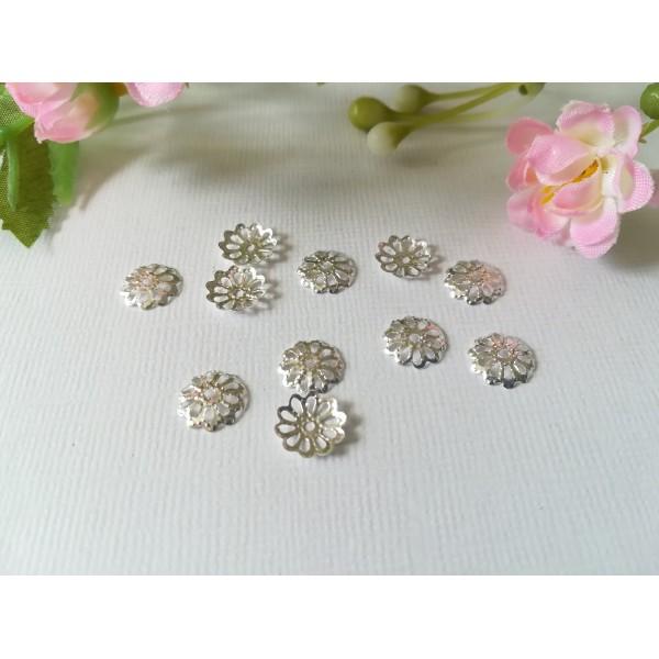 Coupelles fleur filigrane 8.5 mm argenté x 30 - Photo n°1