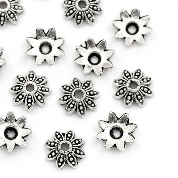 Coupelles fleur 8 pétales 8 mm argent mat x 20 - Photo n°1