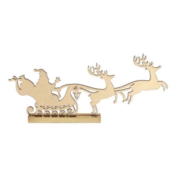 Traineau du Père Noël coloris or métallisé sur socle - Photo n°1