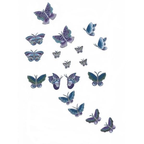 18 Patch Thermocollants Tissu Petit Papillon bleu & argent Appliques à repasser Scrapbooking Couture - Photo n°1