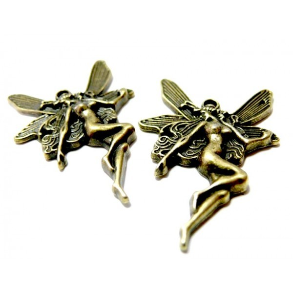 Lot de 10 pendentifs breloque grandes fees métal couleur Bronze ref A1802 - Photo n°1