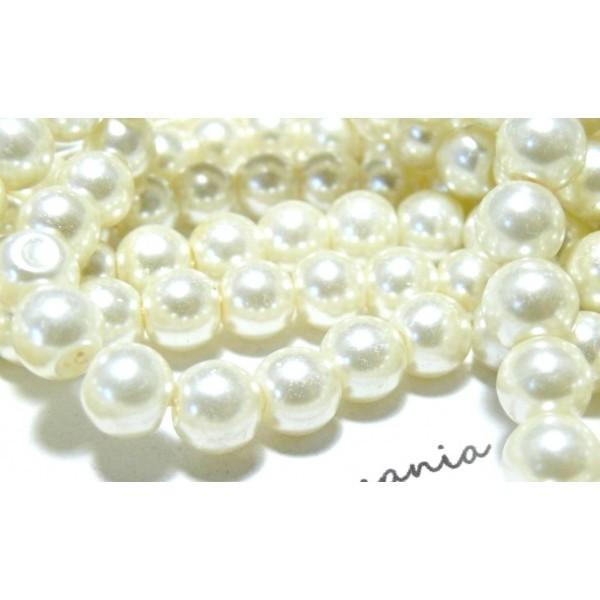 1 fil d'envrion 210 perles de verre nacre couleur Crème 4mm coloris B02 - Photo n°1