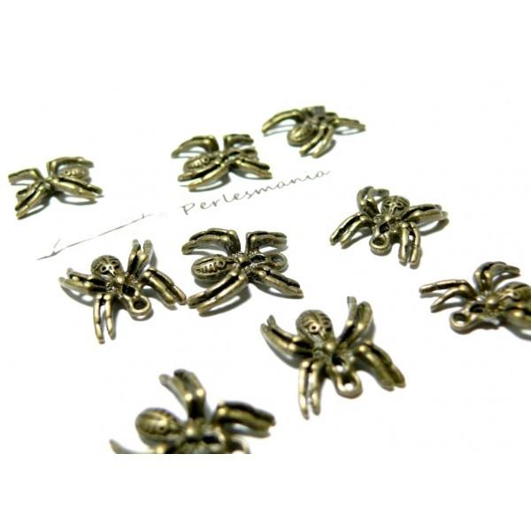 Lot de 20 breloques araignées haloween bronze ref 14658 - Photo n°1