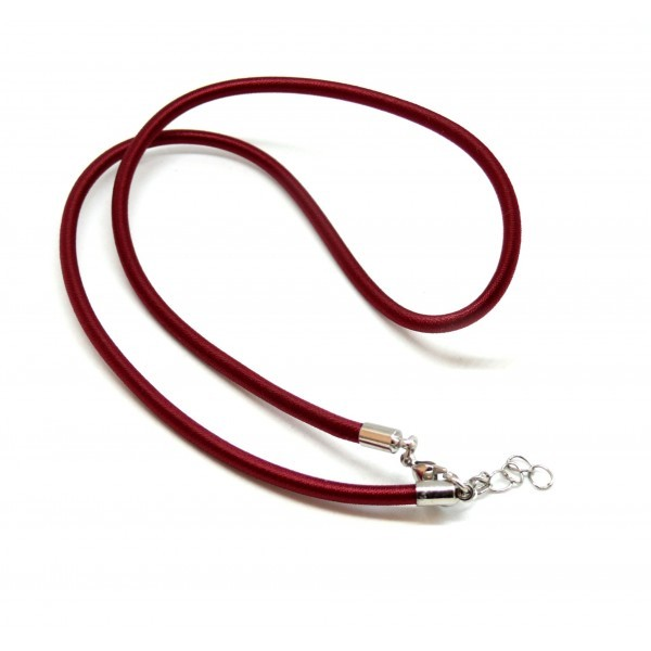 H11504 PAX 5 colliers Ras de Cou en soie TISSEE Rouge Foncé 3mm - Photo n°1