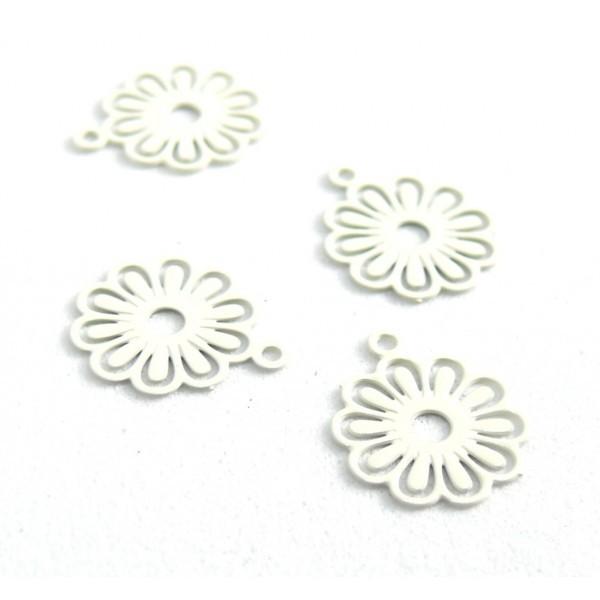 AE113414 Lot de 10 Estampes pendentif filigrane Petites Fleurs 10mm métal couleur Blanc - Photo n°2