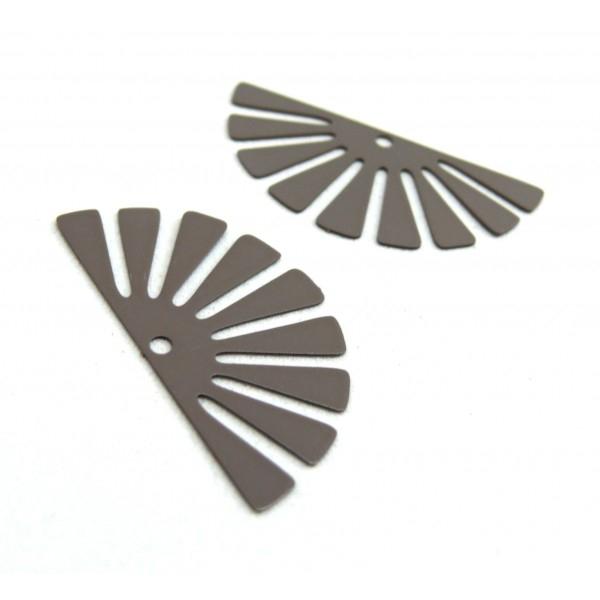 AE11588 Lot de 4 Estampes pendentif filigrane demi Soleil Eventail Gris 18 par 35 mm - Photo n°1
