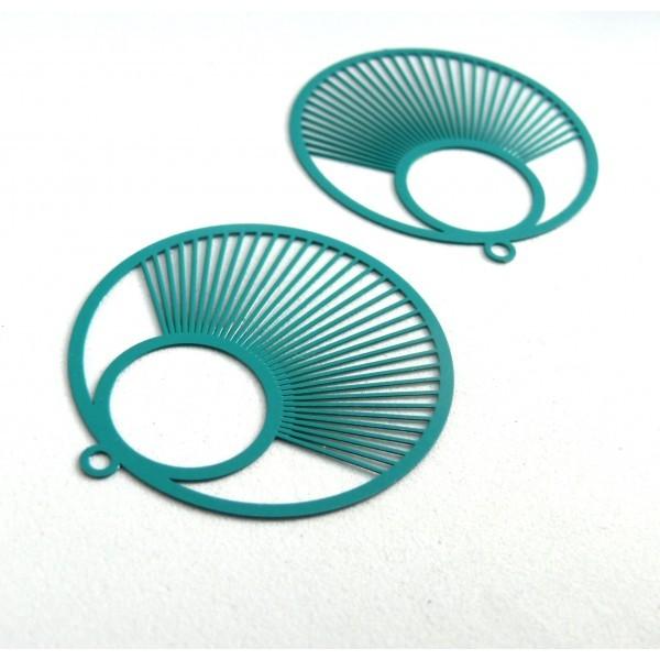 AE115957 Lot de 2 Estampes pendentif filigrane Cercle 40 mm Bleu Canard - Photo n°1