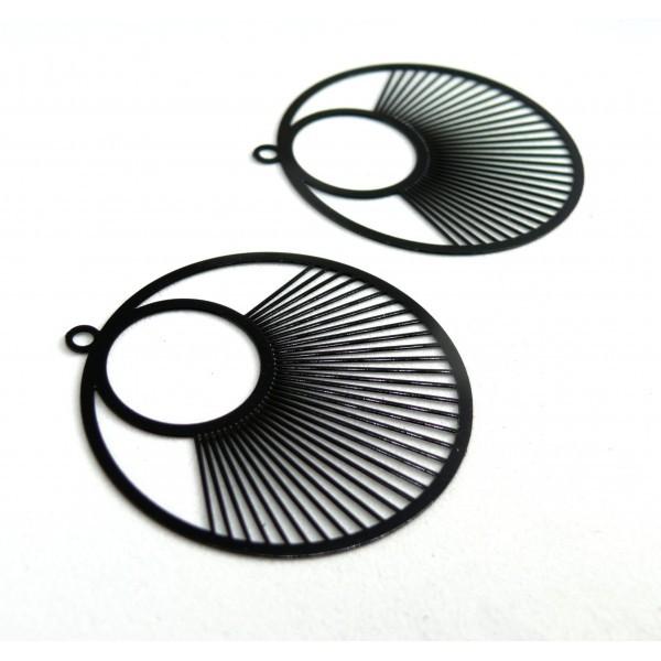 AE115957 Lot de 2 Estampes pendentif filigrane Cercle 40 mm Noir - Photo n°2