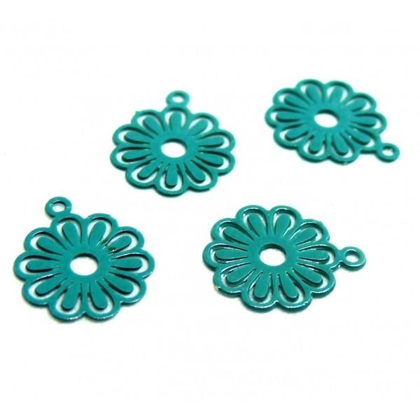 AE113414 Lot de 10 Estampes pendentif filigrane Petites Fleurs 10mm métal couleur Beu Canard - Photo n°1