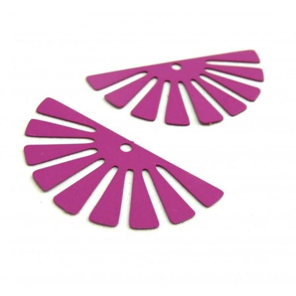 AE11588 Lot de 4 Estampes pendentif filigrane demi Soleil Eventail Violet Orchidée 18 par 35 mm - Photo n°2