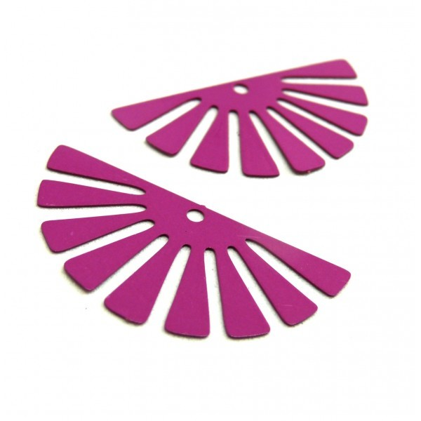 AE11588 Lot de 4 Estampes pendentif filigrane demi Soleil Eventail Violet Orchidée 18 par 35 mm - Photo n°1