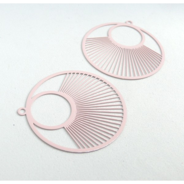 AE115957 Lot de 2 Estampes pendentif filigrane Cercle 40 mm Rose - Photo n°2