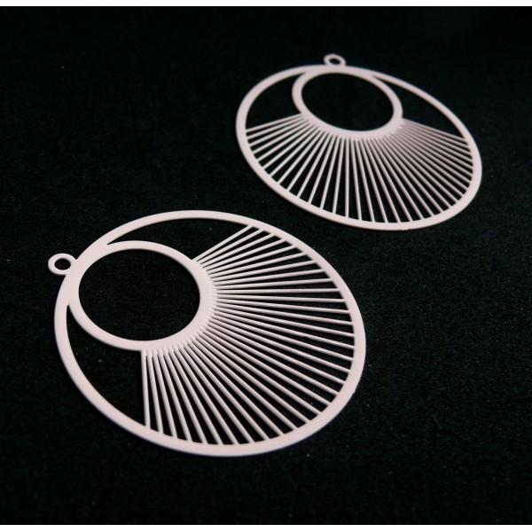 AE115957 Lot de 2 Estampes pendentif filigrane Cercle 40 mm Rose - Photo n°1