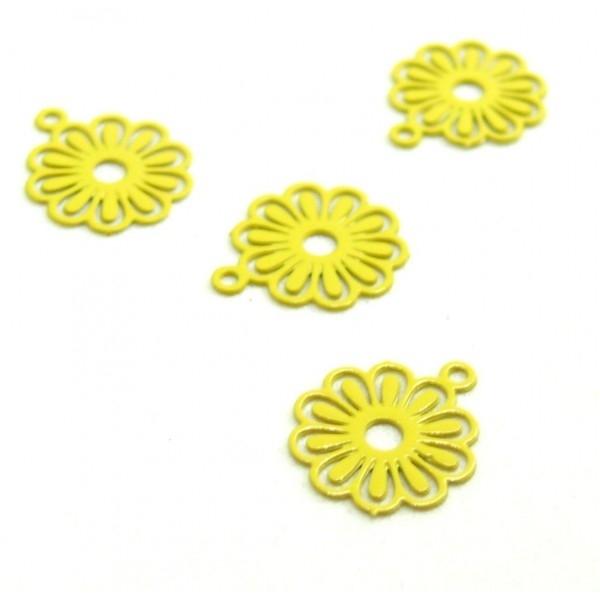 AE113414 Lot de 10 Estampes pendentif filigrane Petites Fleurs 10mm métal couleur Jaune - Photo n°1